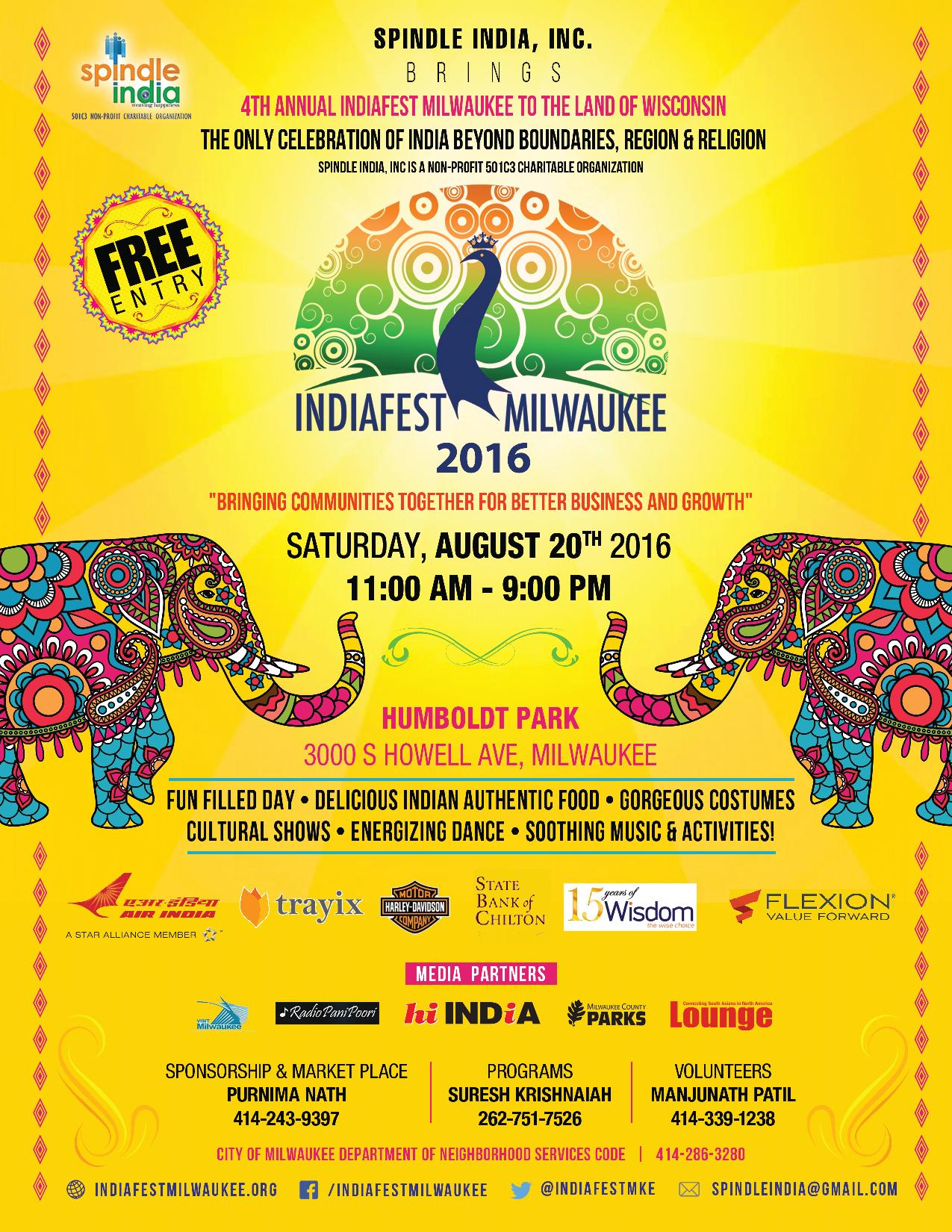 IndiaFest Milwaukee 2016 Flyer